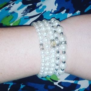 Faux pearl and czech crystal stretchy bracelets